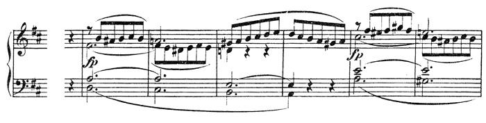 Beethoven, piano sonata No.15 D major, op.28: mvt 1, theme #2, score sample