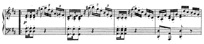 Beethoven, piano sonata No.15 D major, op.28: mvt 2, mid part, score sample