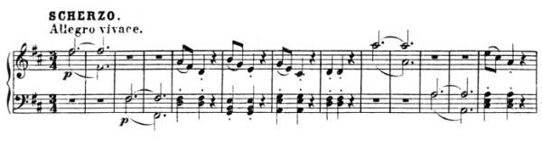Beethoven, piano sonata No.15 D major, op.28: mvt 3, Scherzo, score sample