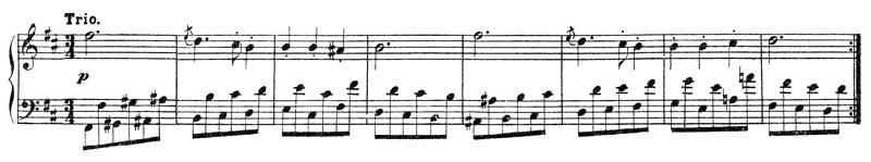 Beethoven, piano sonata No.15 D major, op.28: mvt 3, Trio, score sample