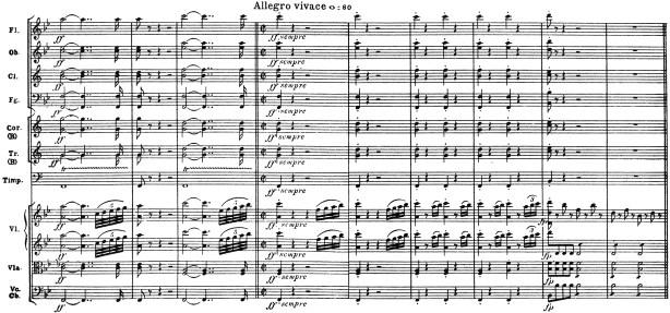Beethoven, Symphony No.4 B♭ major op.60, score sample, mvt.1, Allegro vivace