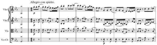Haydn, Symphony No.103, score sample, mvt.1, Allegro con spirito