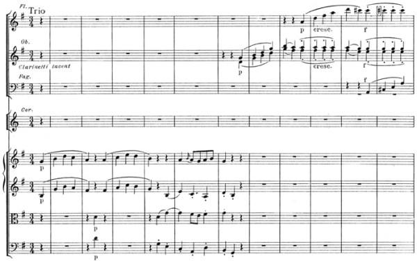 Mozart: Symphony No.40 in G minor, K.550 (version 2) —score sample, mvt.3, Trio