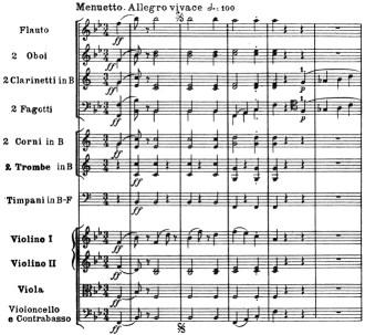 Beethoven, Symphony No.4 B♭ major op.60, score sample, mvt.3, Menuetto