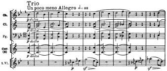 Beethoven, Symphony No.4 B♭ major op.60, score sample, mvt.3, Trio