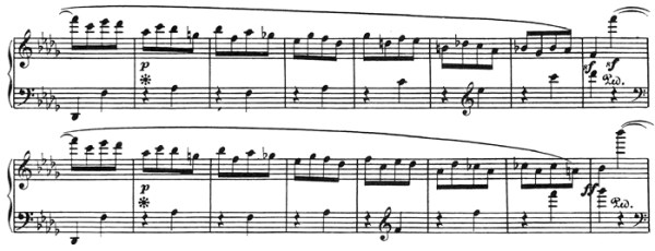 "Beethoven: Piano Sonata in A♭ major, op.110, score sample: movement #2, ""C"" part"