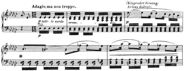 Beethoven: Piano Sonata in A♭ major, op.110, score sample: movement #3, Adagio ma non troppo
