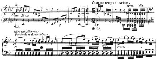 Beethoven: Piano Sonata in A♭ major, op.110, score sample: movement #3, L'istesso tempo di Arioso