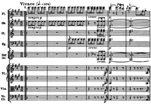 Beethoven: Symphony No.7 in A major, op.92, score sample: movement #1, Vivace
