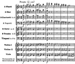 Beethoven: Symphony No.7 in A major, op.92, score sample: movement #3, Presto