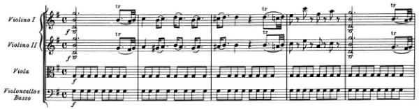 Mozart: Symphony in G major, K.129, score sample: movement #1