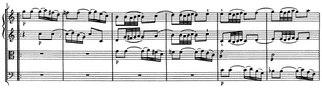 Mozart: Symphony in G major, K.129, score sample: movement #2, part II