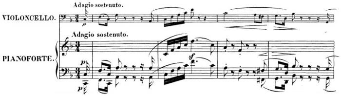 Beethoven, Cello Sonata in F major, op.5/1; score sample: movement I