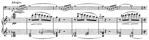 Beethoven, Cello Sonata in F major, op.5/1; score sample: movement 2, Adagio