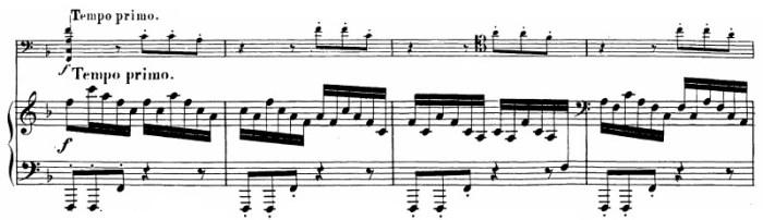 Beethoven, Cello Sonata in F major, op.5/1; score sample: movement 3, Tempo I / ending