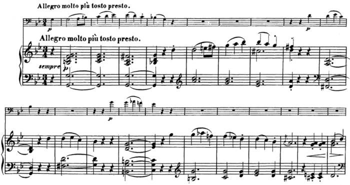 Beethoven, Cello Sonata in G minor, op.5/2; score sample: movement 1, Allegro