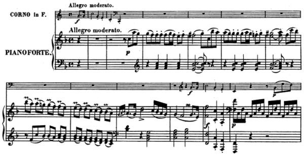 Beethoven, Sonata for Piano and Horn/Cello in F major, op.17; score sample: movement 1, Allegro moderato