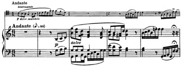 Beethoven, Cello Sonata in C major, op.102/1; score sample: movement 1, Andante