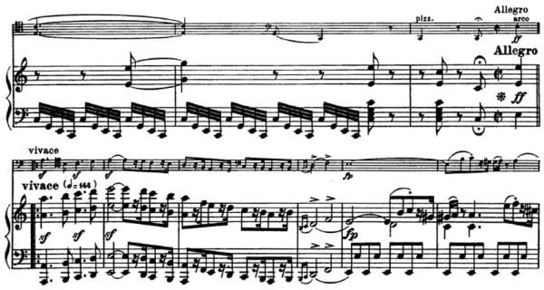 Beethoven, Cello Sonata in C major, op.102/1; score sample: movement 2, Allegro vivace
