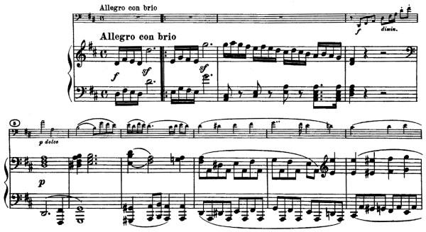 Beethoven, Cello Sonata in D major, op.102/2; score sample: movement 1, Allegro con brio
