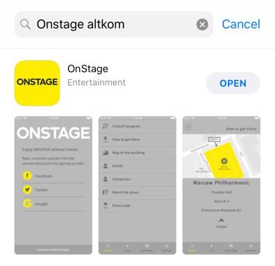 OnStage Smartphone App —AppStore View