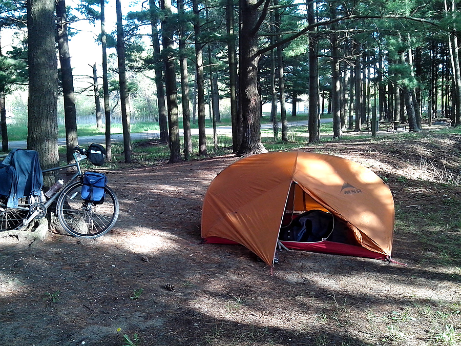campsite in empty Illinois Beach State Park