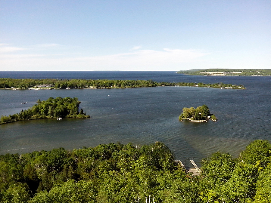Sturgeon Bay and Green Bay from lookout tower