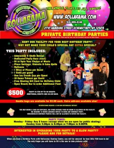 Rollarama Private Birethday Party flyer