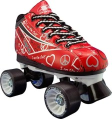 Red roller skates with hearts