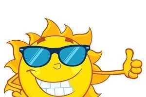 Sun with thumbs up