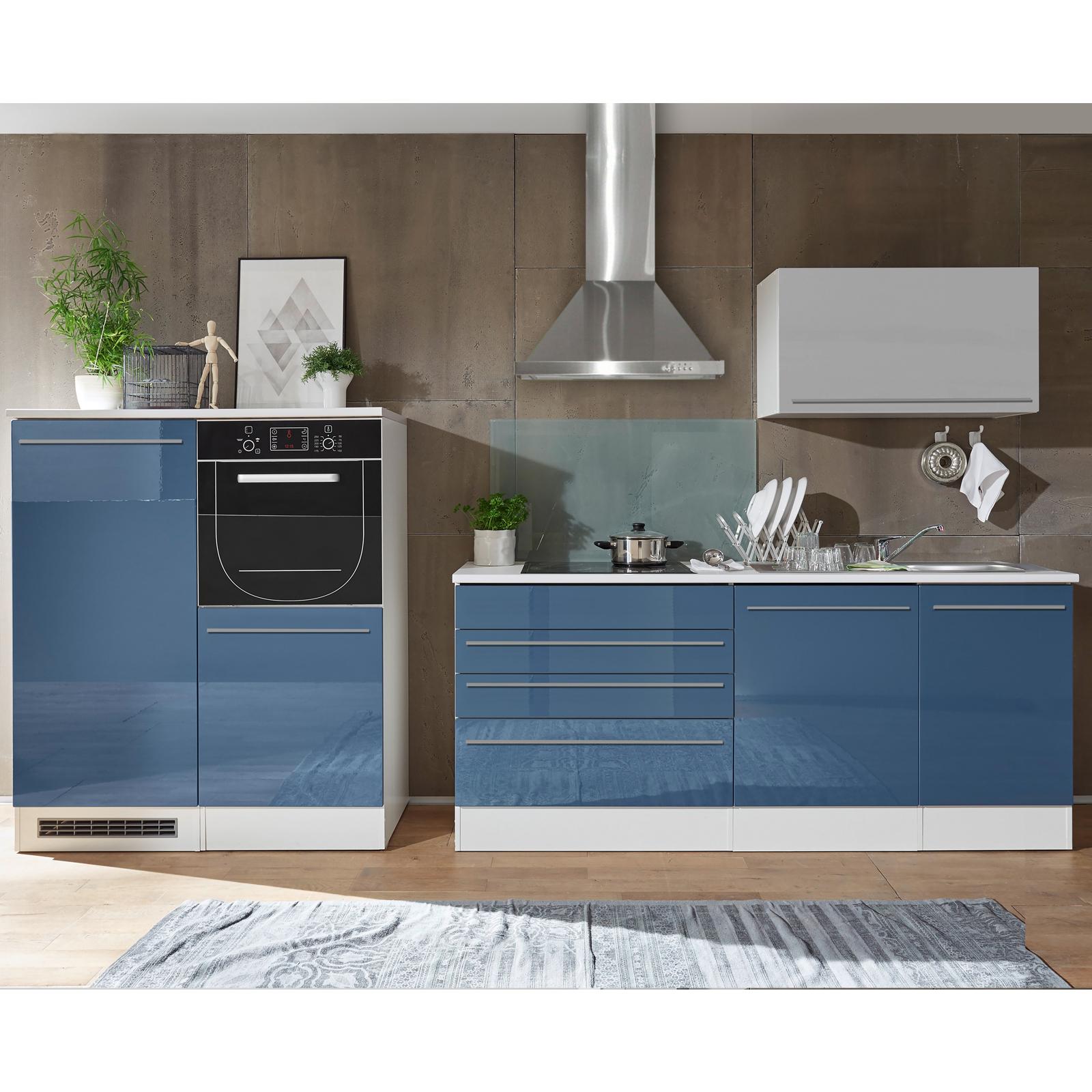 Kuchenblock Blau Hochglanz Weiss Matt 320 Cm Online Bei Roller Kaufen