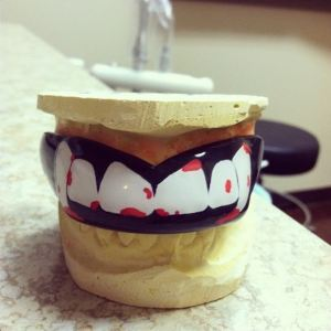 A super sweet custom mouthguard made at Rolling Oaks Dental.