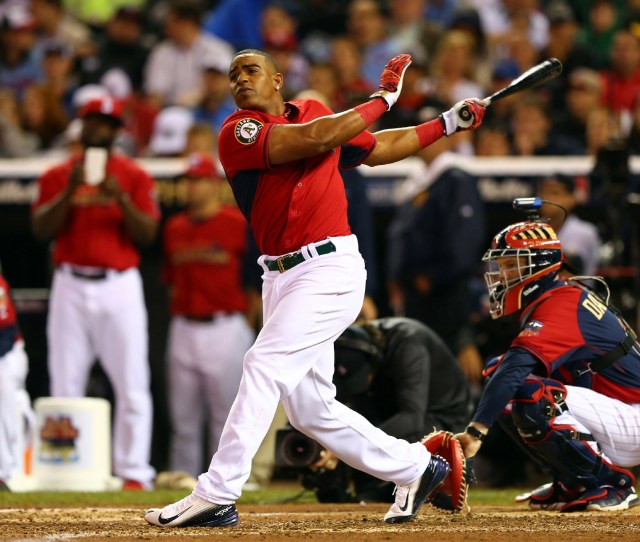 Yoenis Cespedes Of The Oakland As Bats During The Gillette Home Run Derby In Minneapolis Minnesota