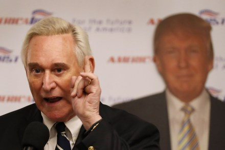 """BOCA RATON, FL - MARCH 21:  Roger Stone, a longtime political adviser and friend to President Donald Trump, speaks before signing copies of his book """"The Making of the President 2016"""" at the Boca Raton Marriott on March 21, 2017 in Boca Raton, Florida.  The book delves into the 2016 presidential run by Donald Trump.  (Photo by Joe Raedle/Getty Images)"""