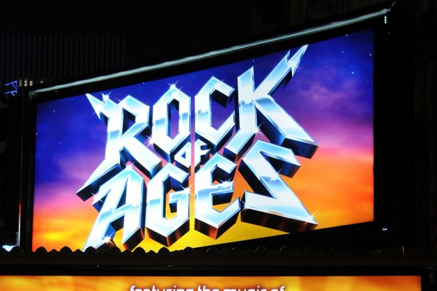 """NEW YORK - APRIL 07: A general view of the marquee at the """"Rock of Ages"""" Broadway opening night at the Brooks Atkinson Theatre on April 7, 2009 in New York City. (Photo by Bryan Bedder/Getty Images)"""