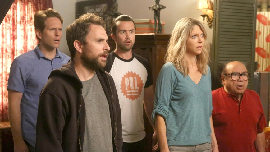 """IT'S ALWAYS SUNNY IN PHILADELPHIA -- """"The Gang Turns Black"""" – Season 12, Episode 1 (Airs January 4, 10:00 pm e/p) Pictured: (l-r) Glenn Howerton as Dennis, Charlie Day as Charlie, Rob McElhenney as Mac, Kaitlin Olson as Dee, Danny DeVito as Frank. CR: Patrick McElhenney/FXX"""