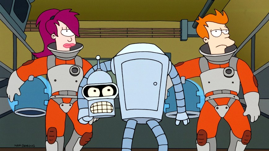 FUTURAMA, Leela, Bender, Fry, 1999-present. TM and Copyright (c) 20th Century Fox Film Corp. All rights reserved.