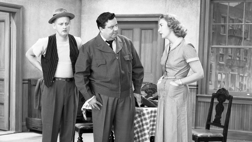 THE HONEYMOONERS, from left; Art Carney, Jackie Gleason, Audrey Meadows , 'A Matter of Life and Death', (Season 1, ep. 105, aired Oct. 29, 1955), 1955-56