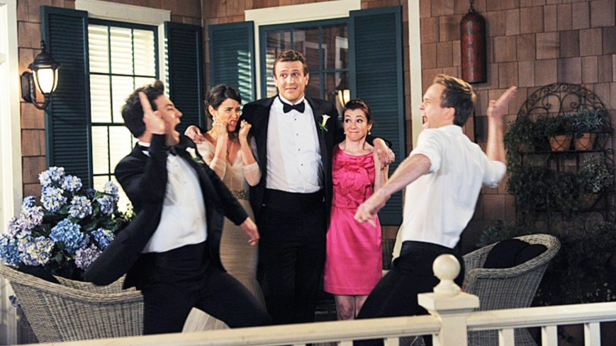 HOW I MET YOUR MOTHER, (from left): Josh Radnor, Cobie Smulders, Jason Segel, Alyson Hannigan, Neil Patrick Harris, 'Last Forever, Parts I & II', (Season 9, ep. 923 & 924, aired March 31, 2014). ph: Ron P. Jaffe / ©CBS / courtesy Everett Collection