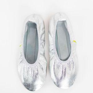 Rolly school slippers for kindergarten ballerina silver for girls