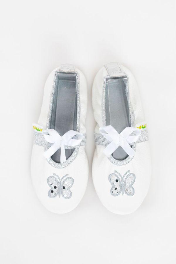 Rolly school slippers for kindergarten beauty white butterfly for girls