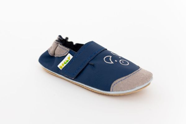 Rolly slippers from leather toddler mini bear navy blue