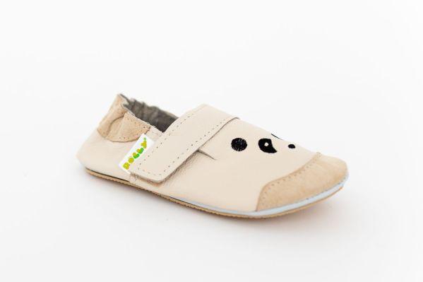 Rolly slippers mini panda beige toddler nonslip sole