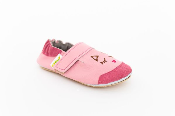Rolly slippers toddler mini kitten pink from leather