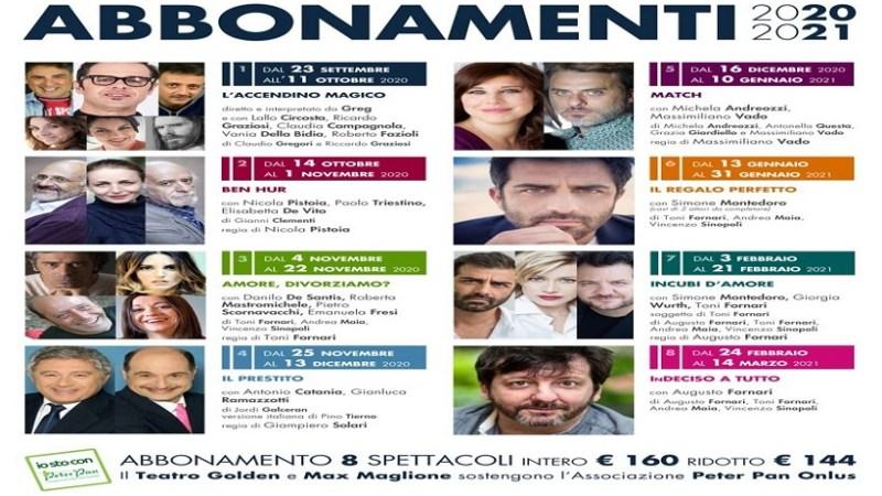 Teatro Golden tra i primi a riaprire in Italia. Stagione in abbonamento 2020 2021