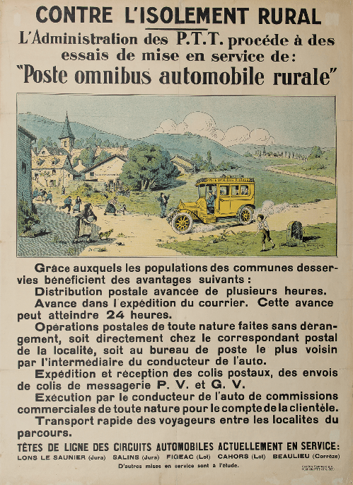 affiche « Contre l'isolement rural… Poste omnibus automobile rurale », lithographie, 1927 -