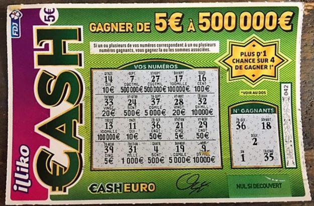 Française des jeux ticket CASH gagnant 50 euros septembre 2017