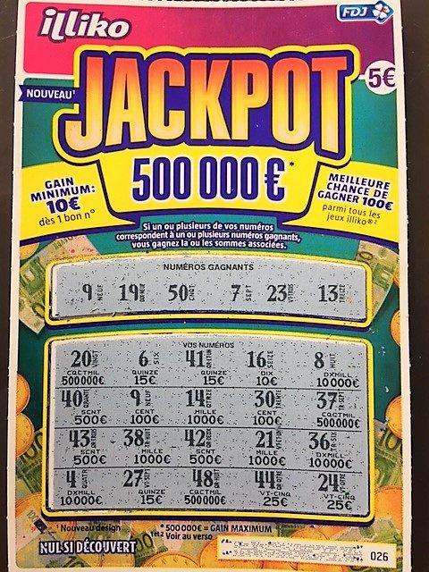 Jeu à gratter gagnant Française des Jeux Jackpot