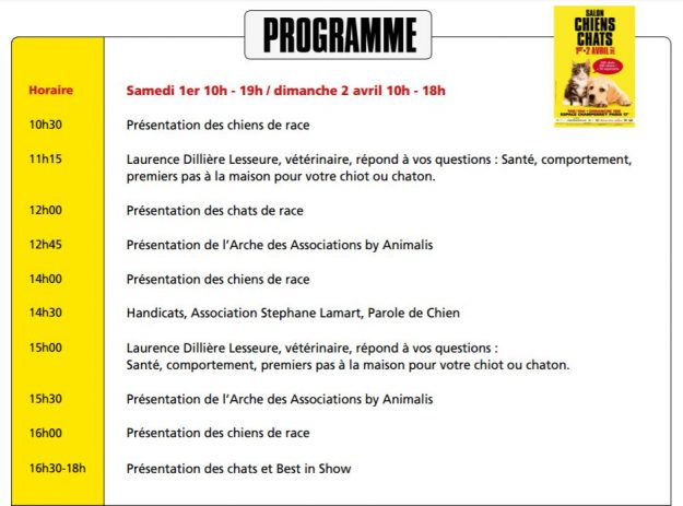 Programme salon chiens chats Paris