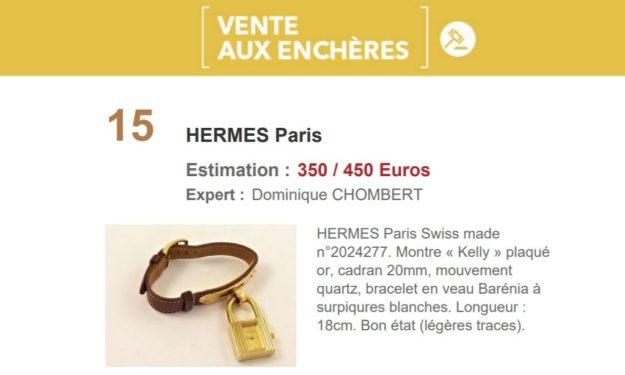 Vente aux enchères montre Hermès